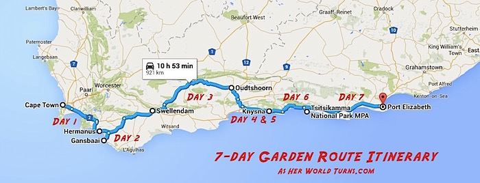 The perfect garden route itinerary as her world turns - Drive from port elizabeth to cape town ...