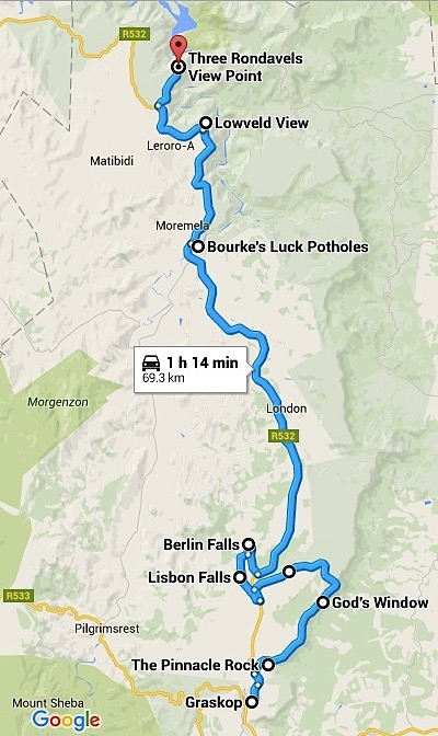 Panorama Route South Africa Map.South Africa S Panorama Route As Her World Turns