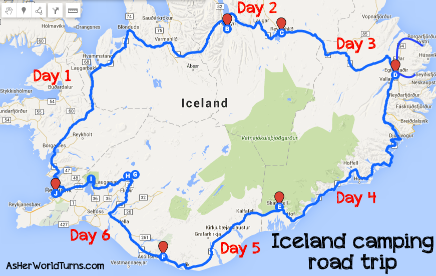 A Guide To Camping In Iceland As Her World Turns - Iceland map world